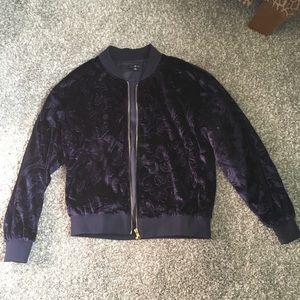 Navy blue velvet bomber jacket size small